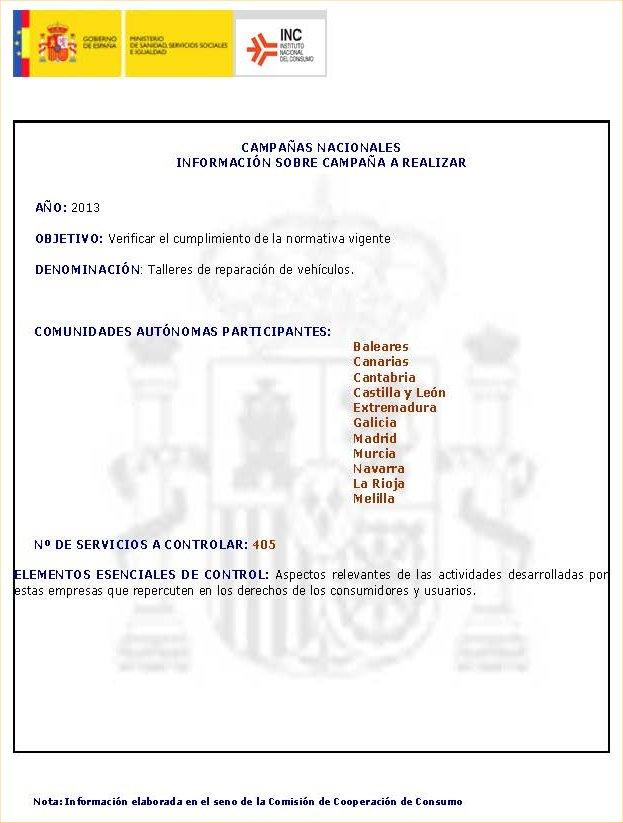Campana De Inspeccion Del Instituto Nacional De Consumo